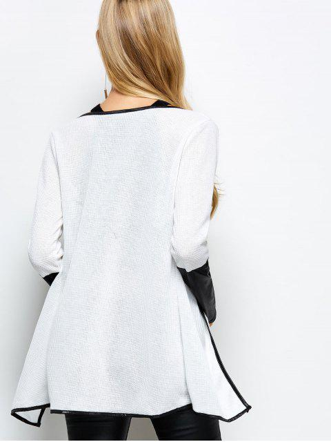 buy PU Leather Insert Long Sleeve Cardigan - WHITE L Mobile