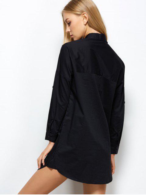 unique Long Sleeve Boyfriend Pocket Shirt - BLACK L Mobile