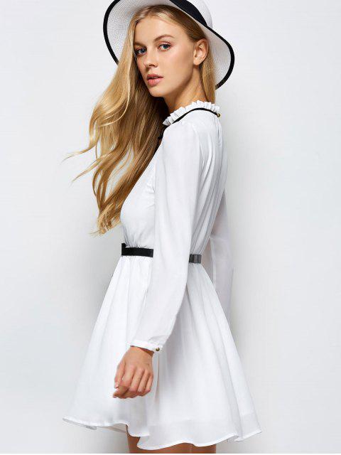 best Ruff Collar Pleated Chiffon Dress - WHITE XS Mobile