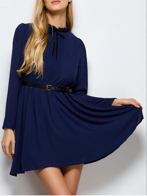 hot Ruff Collar Pleated Chiffon Dress - DEEP BLUE L Mobile