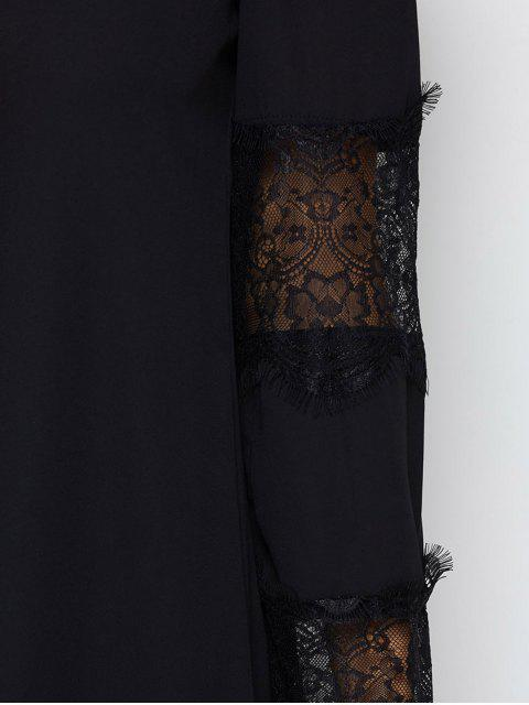 ladies Long Sleeve Lace Panel Chiffon Shift Dress - BLACK XL Mobile