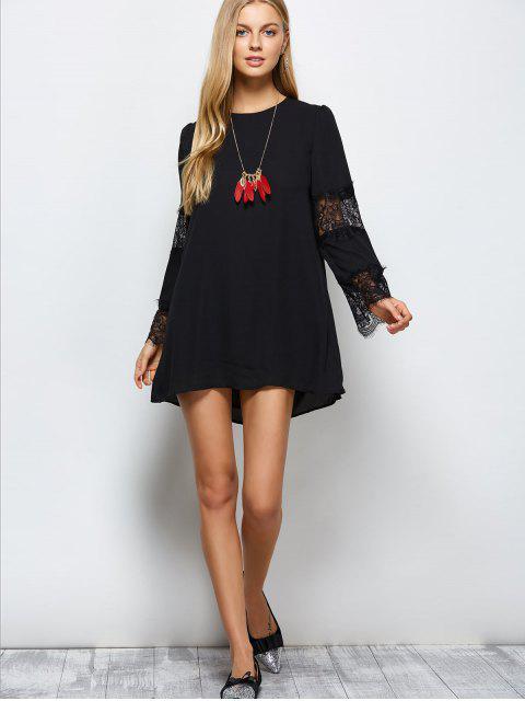 lady Long Sleeve Lace Panel Chiffon Shift Dress - BLACK L Mobile
