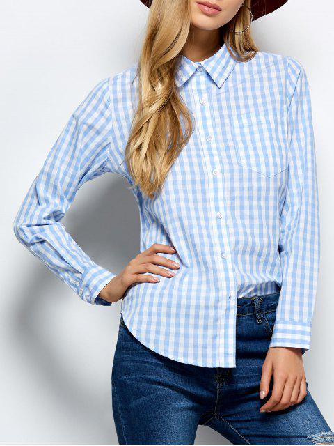 trendy Checked Boyfriend Pocket Shirt - PLAID M Mobile