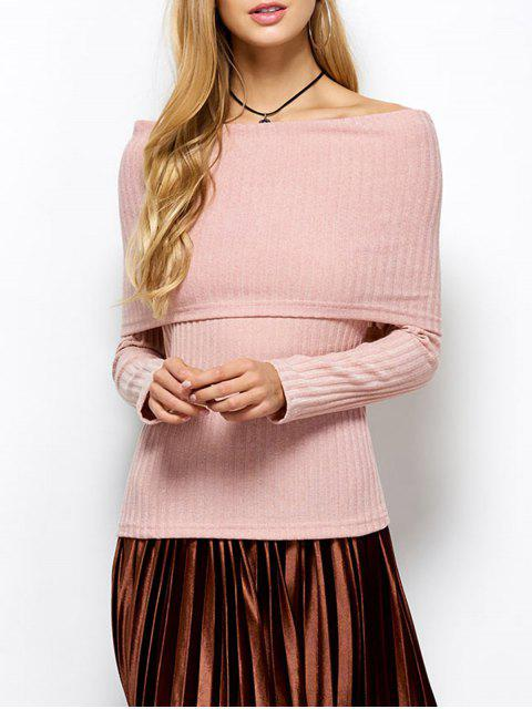 unique Foldover Off The Shoulder Jumper - LIGHT APRICOT PINK L Mobile