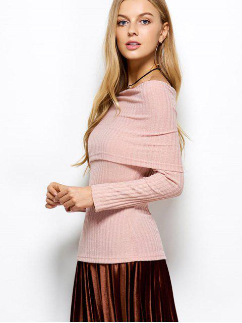 fancy Foldover Off The Shoulder Jumper - LIGHT APRICOT PINK XL Mobile