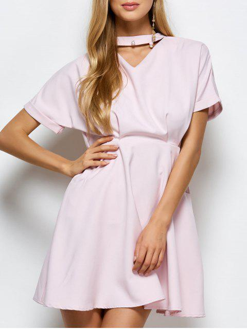 lady A Line Short Sleeve Choker Dress - PINK L Mobile