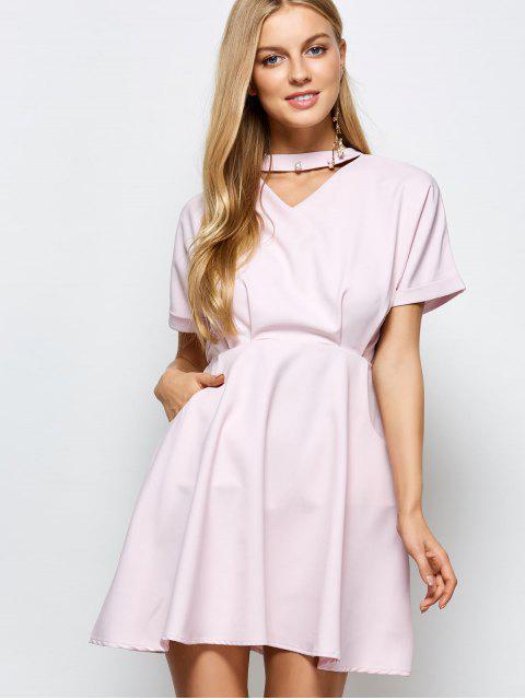 buy A Line Short Sleeve Choker Dress - PINK M Mobile