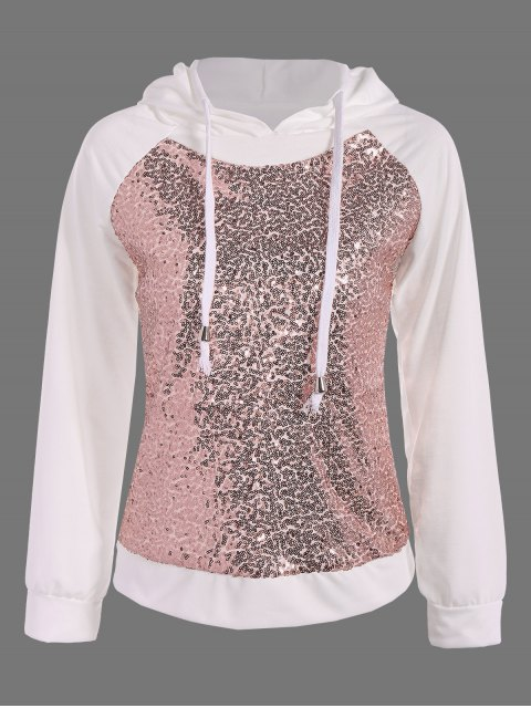 lady Sequined Drawstring Hoodie - WHITE M Mobile