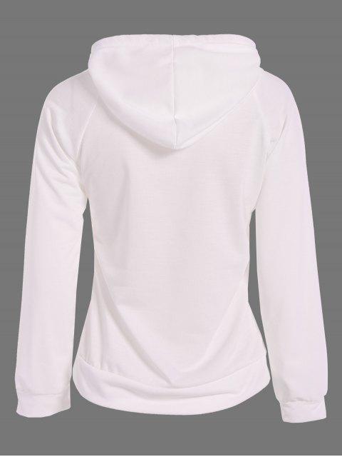 ladies Sequined Drawstring Hoodie - WHITE L Mobile
