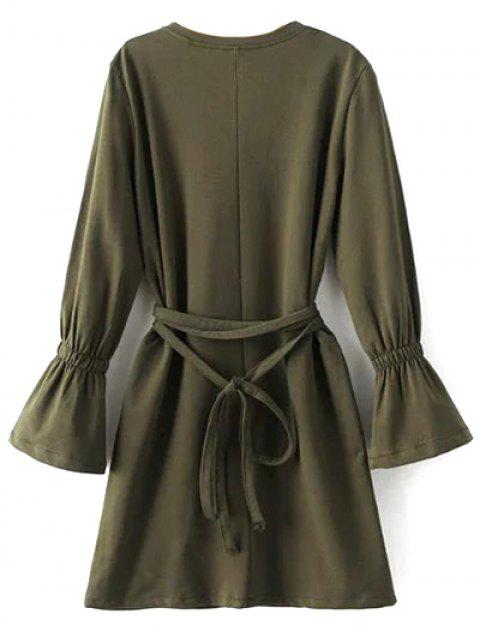 best Flare Sleeve Round Neck Self Tie Dress - ARMY GREEN L Mobile