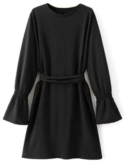 outfit Flare Sleeve Round Neck Self Tie Dress - BLACK M Mobile