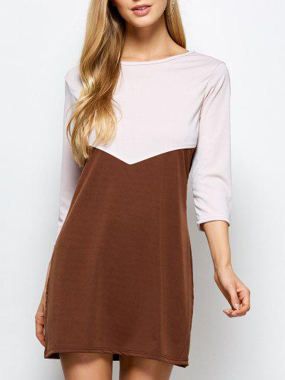 Two Tone Panel Dress - Coffee With Khaki S