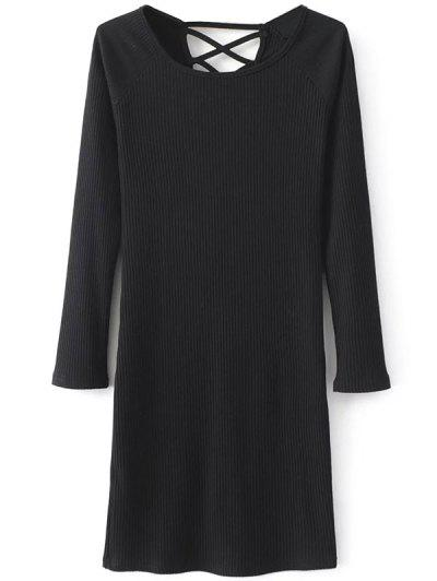 Long Sleeve Strappy Ribbed Dress