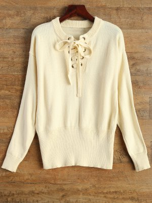 Leisure Fitting Lace-Up Sweater - Beige M