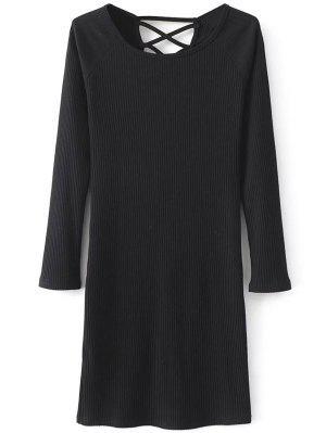 Vestido De Tejido Acanalado De Tiras De Manga Larga - Negro M