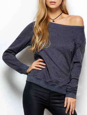 Loose Skew Neck Sweatshirt - Gray Xs