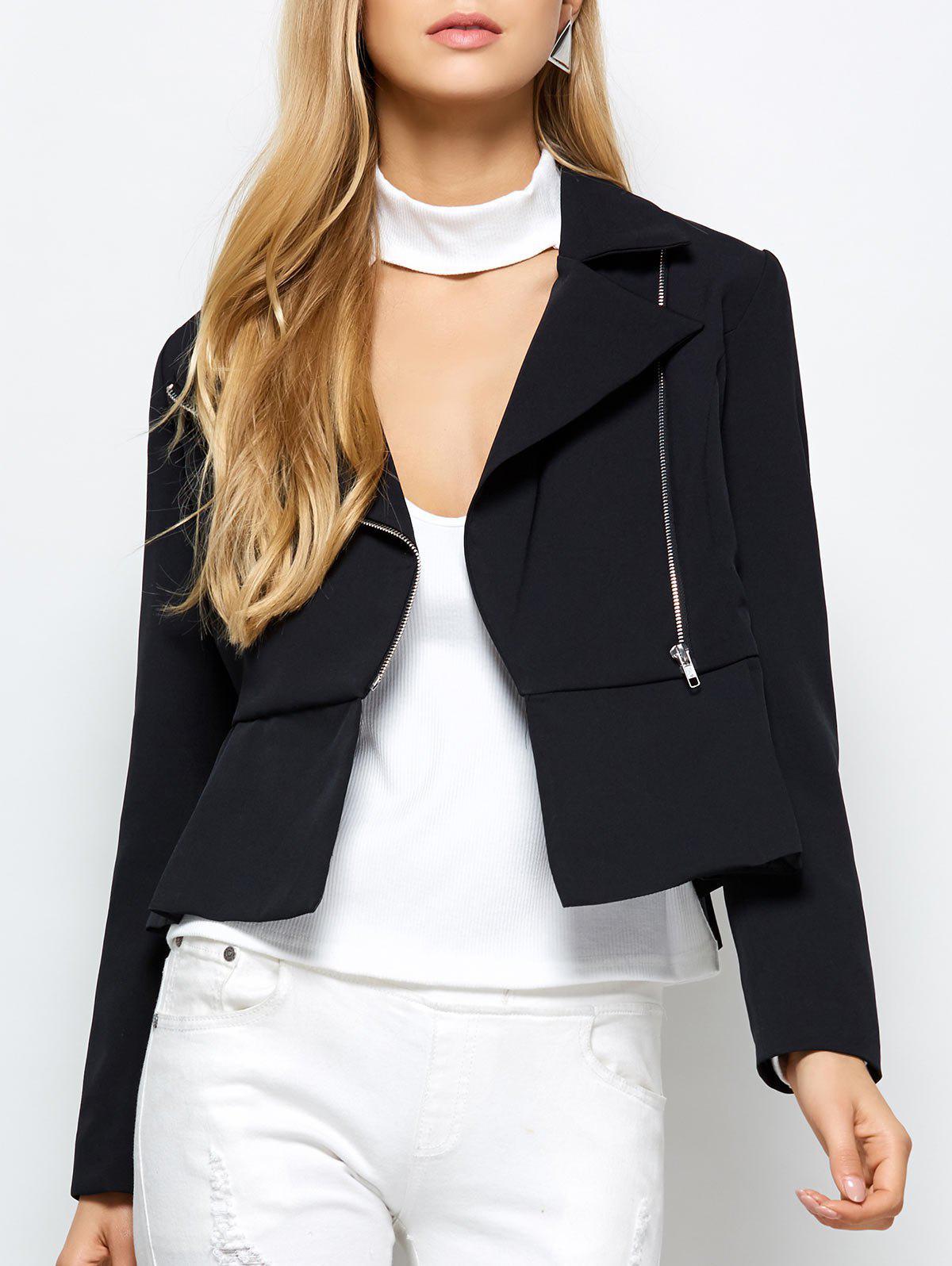 Zippered Lapel Collar Blazer