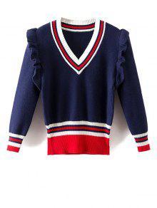Striped Ruffles V Neck Sweater - Blue L