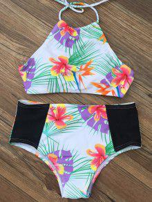 Ensemble Bikini De Taille Haute Imprimé Tropical - Blanc S