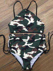 Lace Up High Waisted Camo Swimsuits - Camouflage Color S