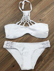Buy Cut Halter Strappy Bikini Set XL WHITE