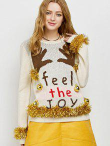 Christmas Crew Neck Pullover Sweater - Beige L
