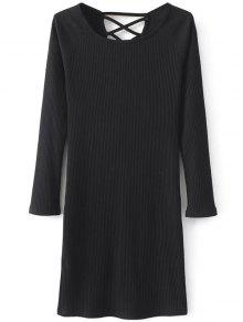 Strappy Long Sleeve Ribbed Sweater Dress - Black M