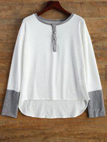 Abotonado De Manga Larga Camiseta - Blanco M