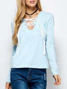 Long Sleeves Lace Up Tee - Light Blue M