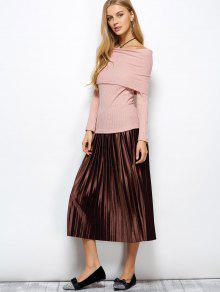 498a055a8 Acordeón plisado de la falda de terciopelo Midi