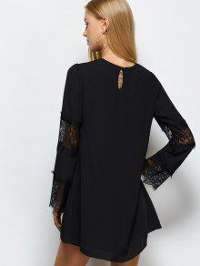 Long sleeve black chiffon shift dress