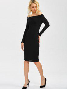 bdda45c070 21% OFF  2019 Off Shoulder Bodycon Long Sleeve Dress In BLACK XL