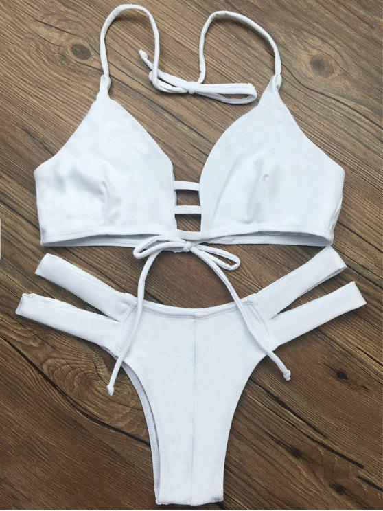 Bañador de Bikini de Halter de Cordón sin Forro - Blanco XL