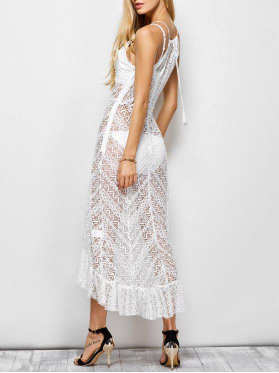 فستان كشكش شفاف ماكسي مثير كامي - أبيض L