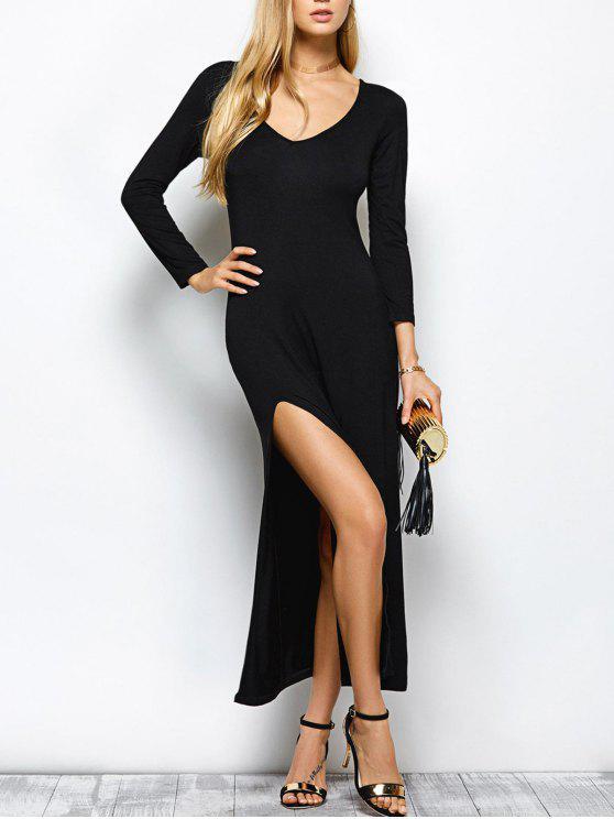 يغرق الرقبة كم طويل فستان ماكسي مع شق - أسود 2XL