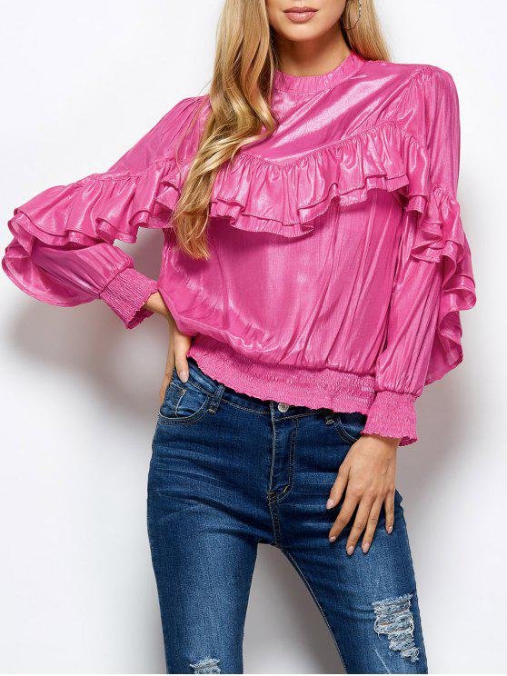 hot Stand Neck Ruffles Blouse - PINK M