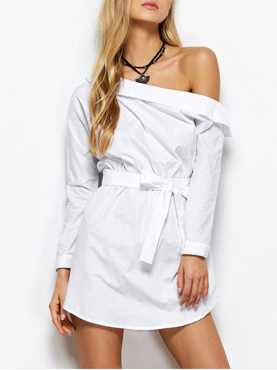 womens Belted One Shoulder Dress - WHITE L