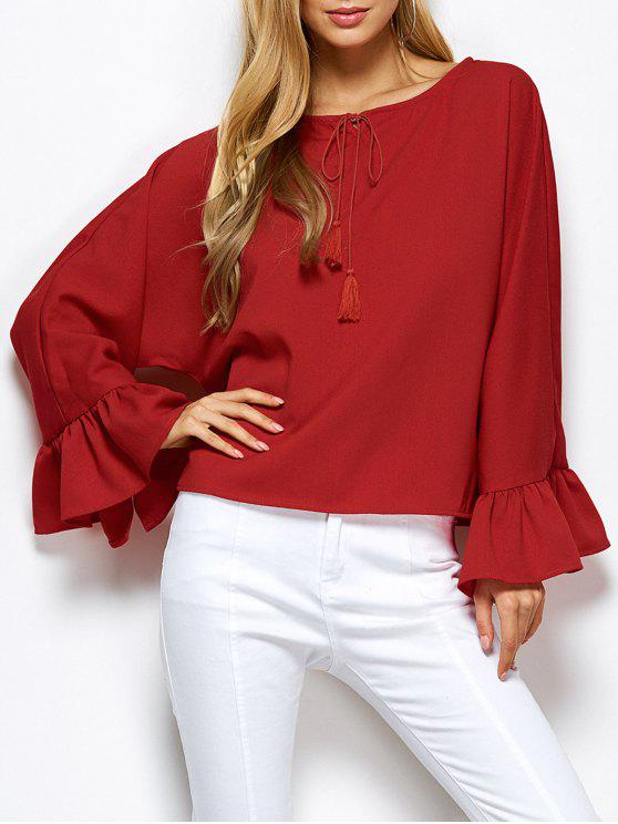 outfits Ruffles Dolman Sleeve Loose Blouse - RED 2XL