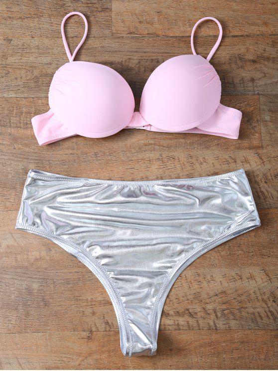 trendy Underwire Bikini Top and Metallic Bottoms - PINK + SILVER M