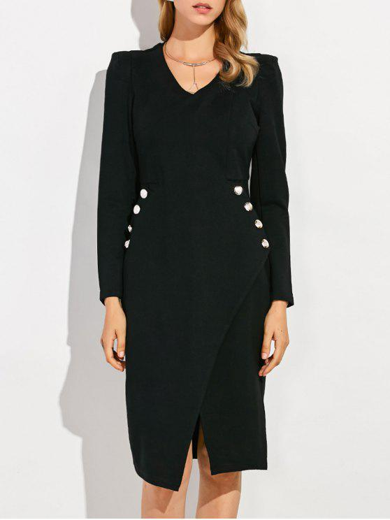 womens V Neck Long Sleeve Sheath Work Dress - BLACK S