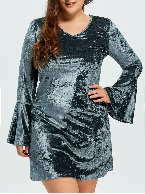 women Belled Sleeve Plus Size Velvet Dress - GREEN 3XL