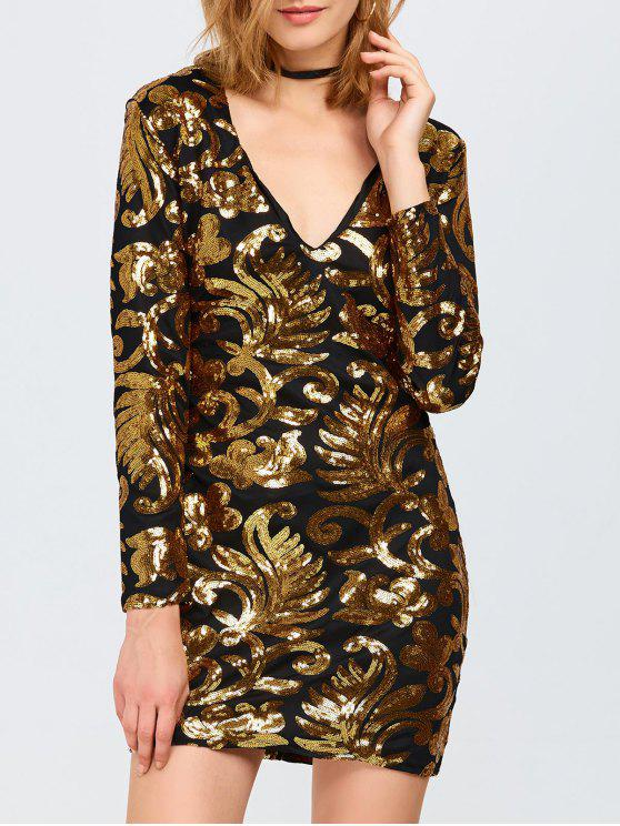 trendy Long Sleeve Sequined Sparkly Dress - GOLDEN L