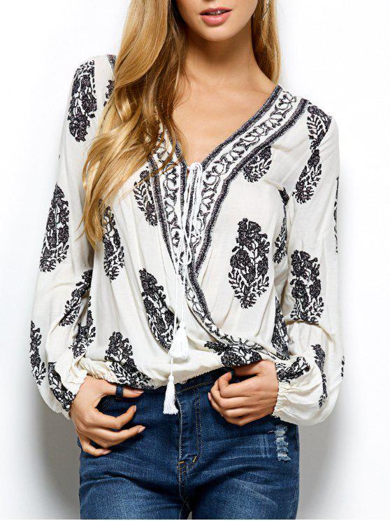 women's Retro Print Long Sleeve Wrap Peasant Blouse - WHITE S