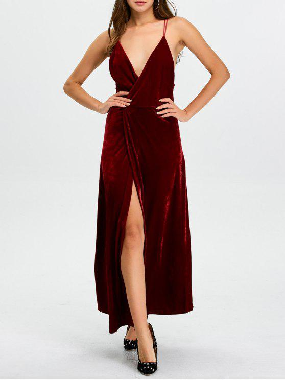 55ad941c099f Maxi Vestido Cuello Escotado Corte Alto Fiesta Navidad WINE RED