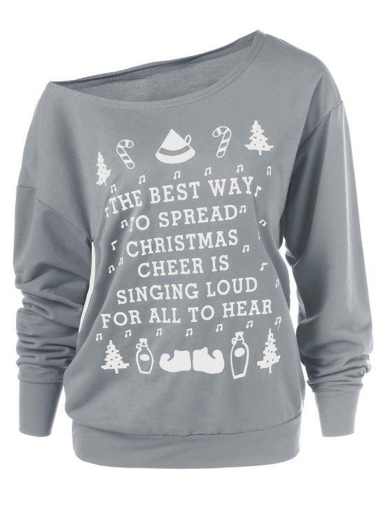 christmas graphic pullover skew neck sweatshirt