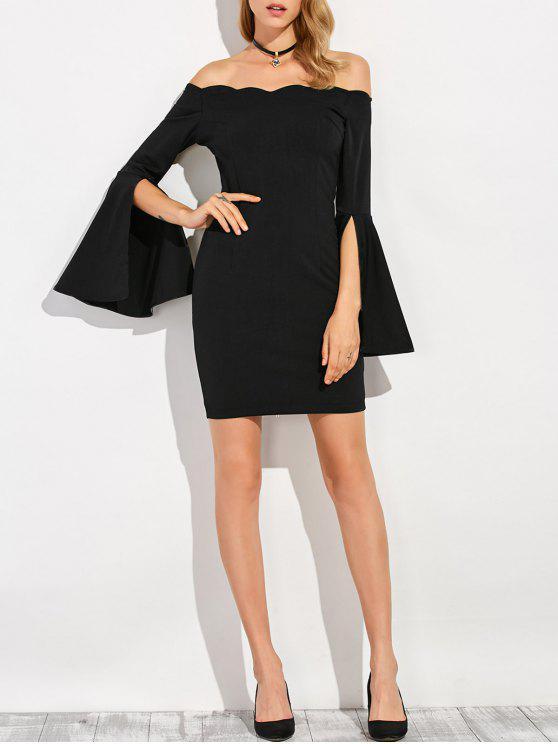 فستان بلا اكتاف ملائم - أسود S