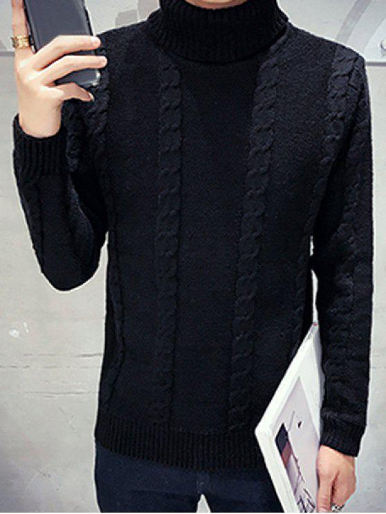À manches longues à col roulé en maille torsadée Sweater - Noir M