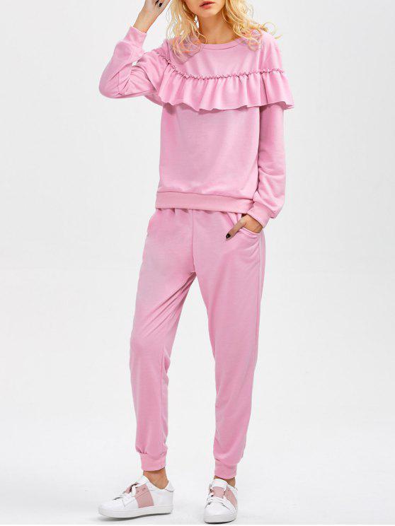 Ensemble sweat à volant et pantalon avec poches - ROSE PÂLE S