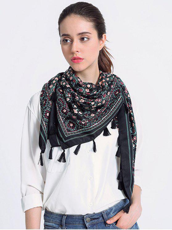 Écharpe à franges vintage motif floral - Noir