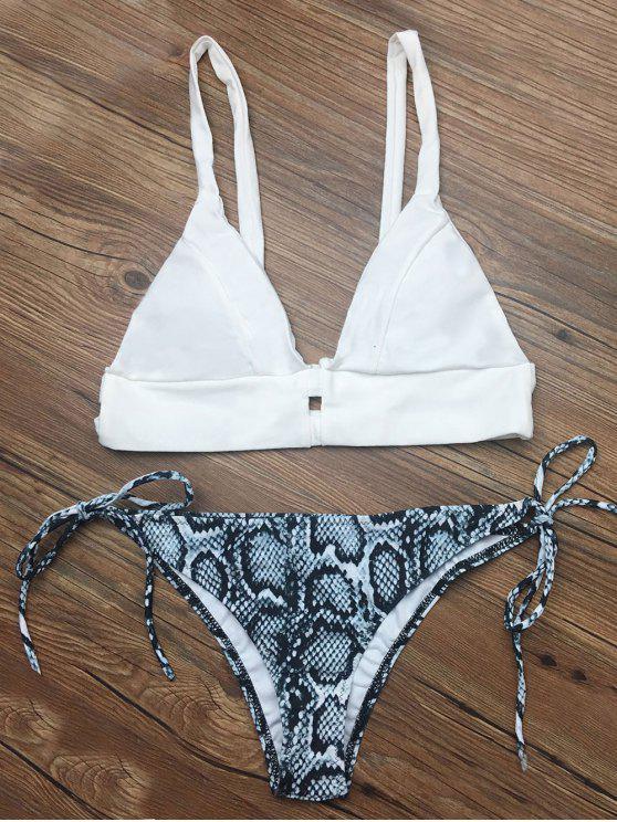 Ensemble de Bikini à bretelle imprimé de motif abstraite - Blanc M